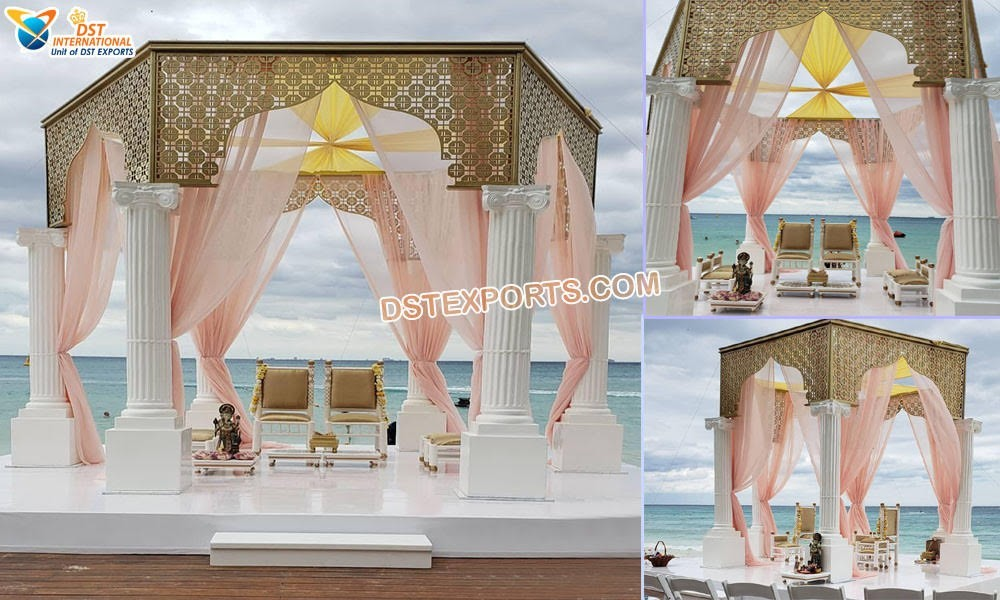 Stunning Beach Wedding Roman Mandap Miami