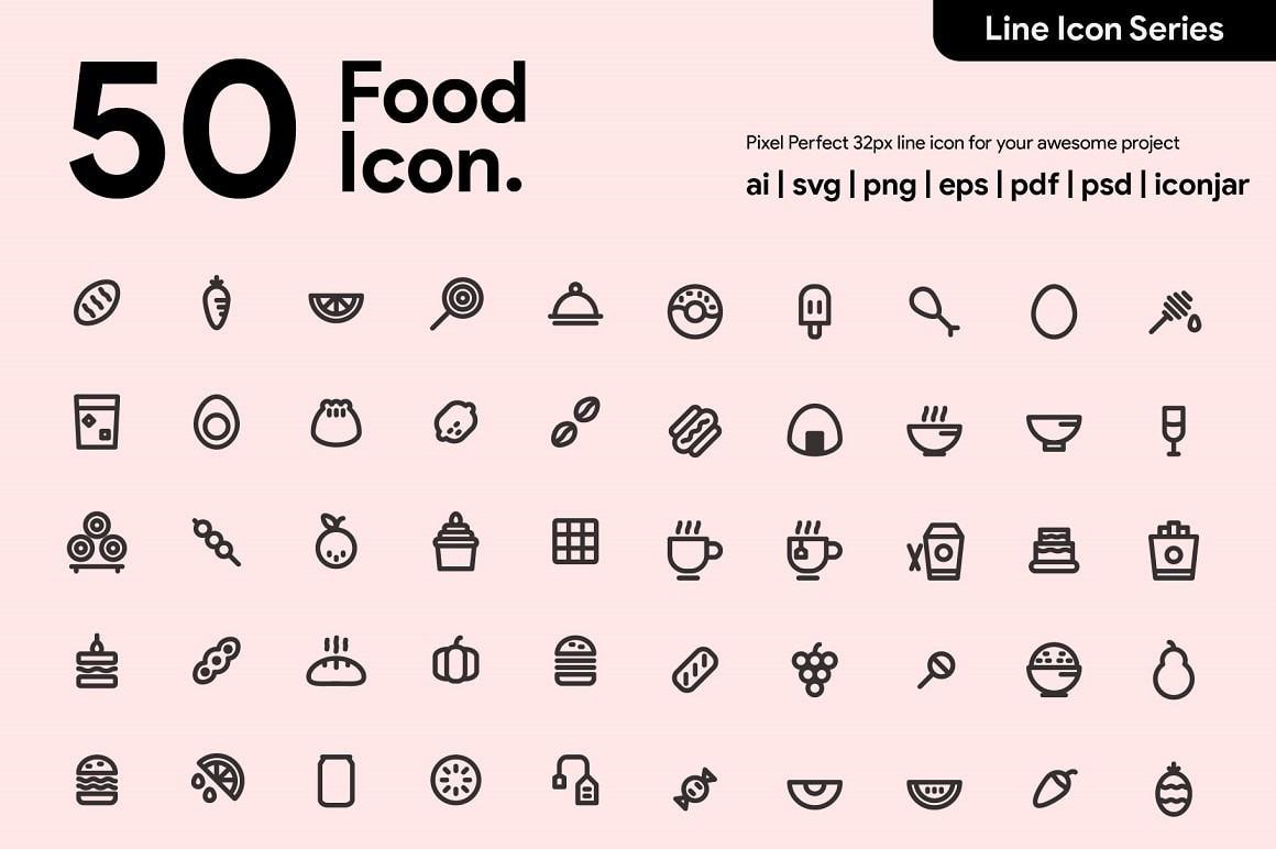 50 Awesome Food Icons   Draftik