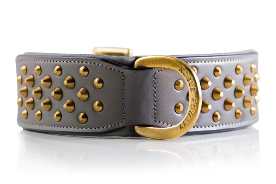 Grey Brass Dog Collar