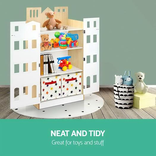 Artiss 4 tier Kids Bookcase Toy Box Organiser Childrens Bookshelf Cabinet Shelf
