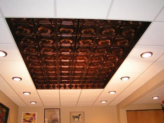 PVC Ceiling Tiles installed into a grid system #106 Antique