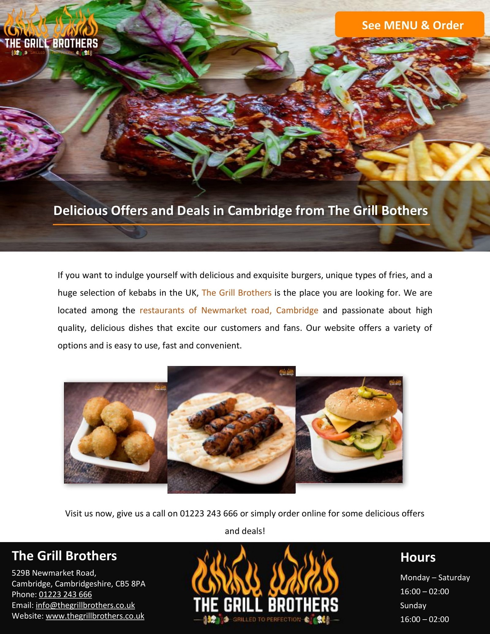 Delicious Offers and Deals in Cambridge from The Grill Bothers