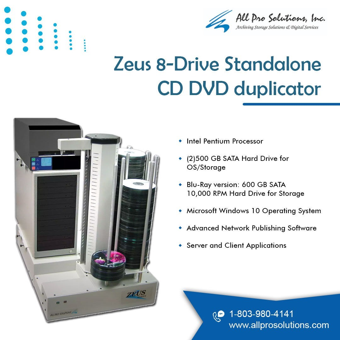 Zeus 8-Drive Standalone CD DVD Duplicator