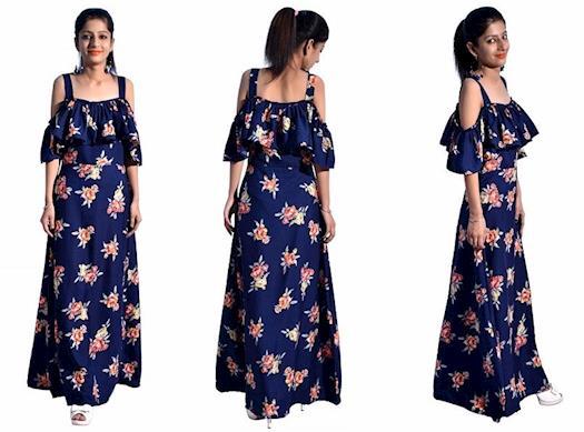 Buy Long Floral Fancy Dresses Online in Delhi, India
