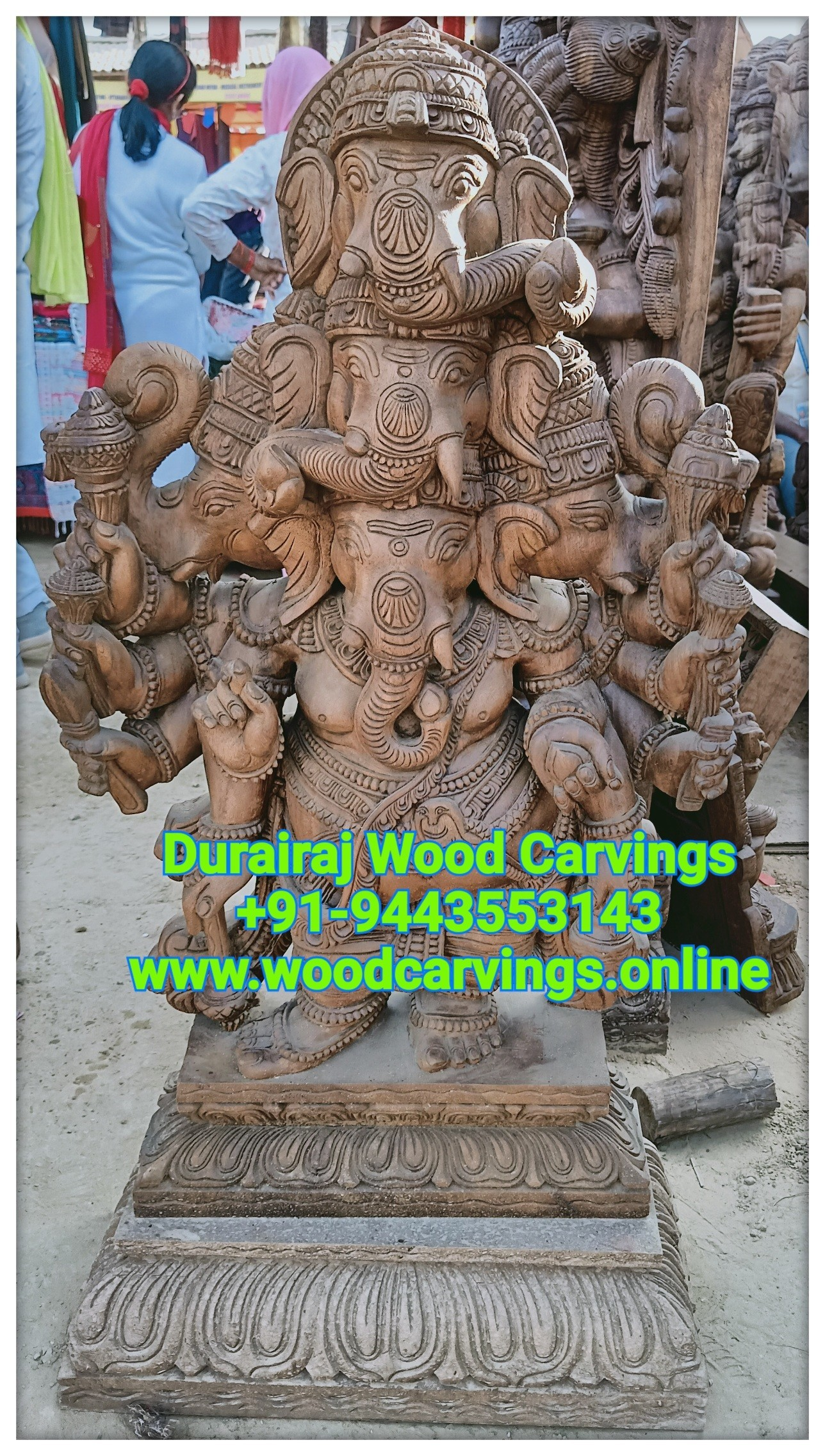 Panchamukhi wooden ganesh statue