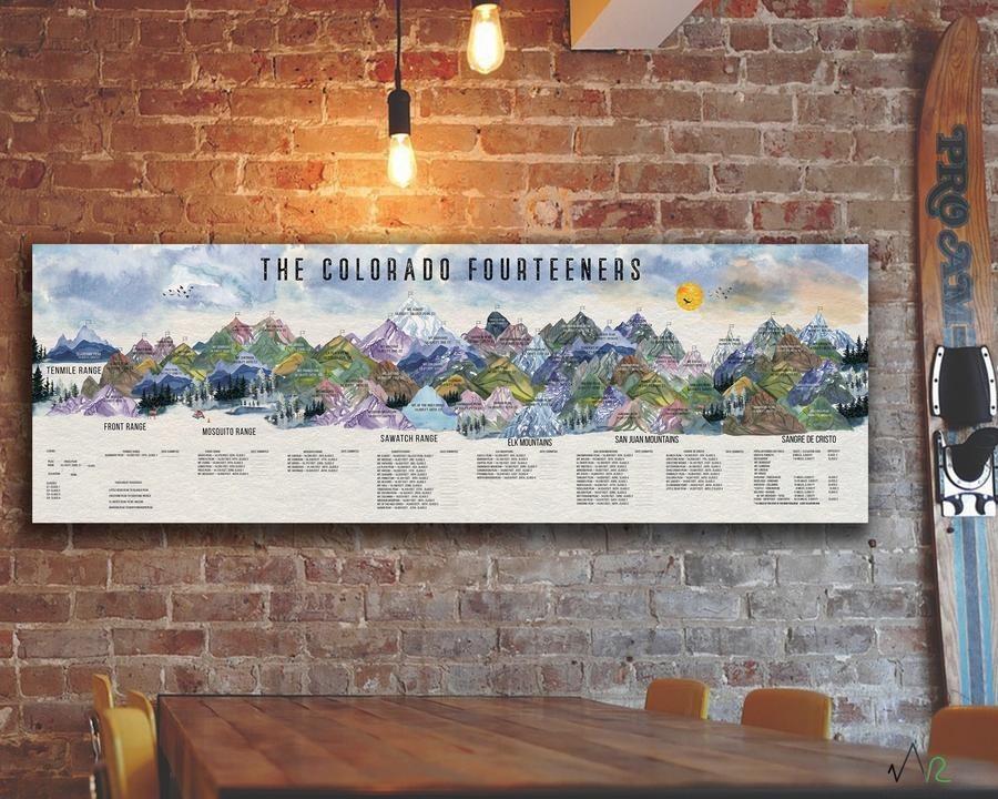 Colorado 14er map and progress tracker canvas