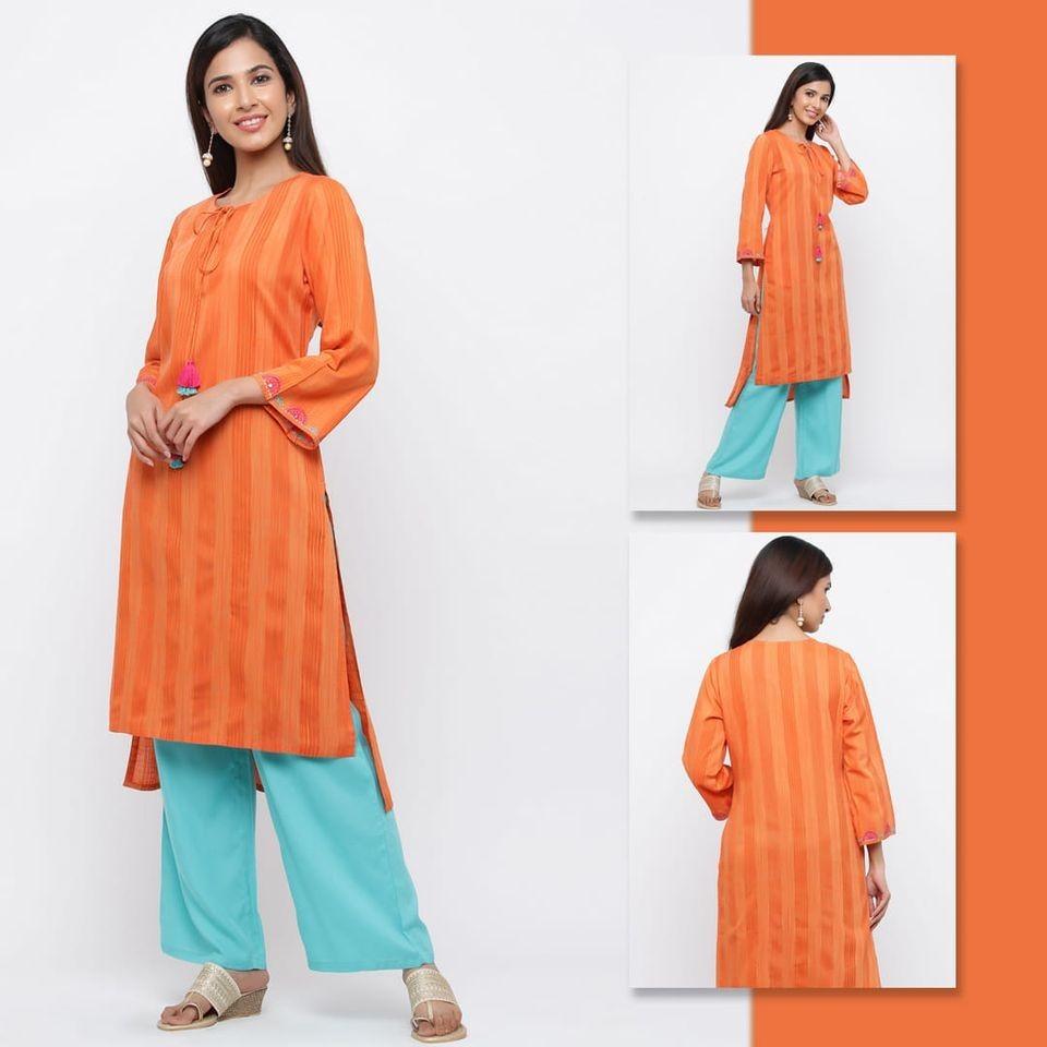 Women Orange Self Weave Straight Viscose Rayon Kurta With Palazzo