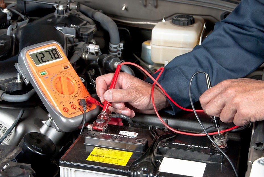 One of our techs checking on the battery voltage in Las Vegas