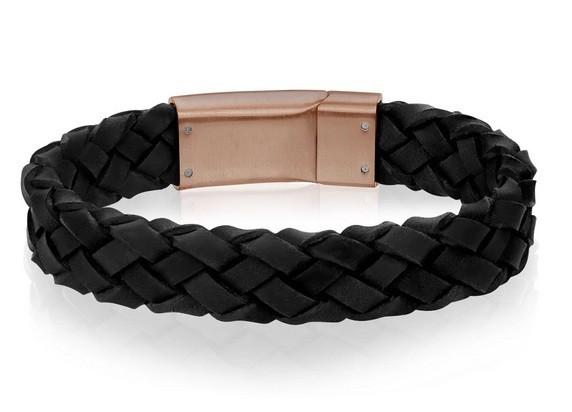 Mens Black Leather Bracelet Engraved