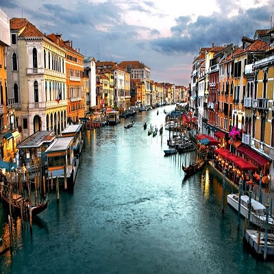 Venetian Canal With Sunset Photographic Canvas Print