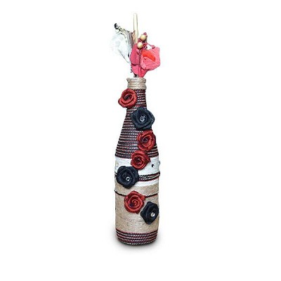 Black and Red Rose Yarn Bottle