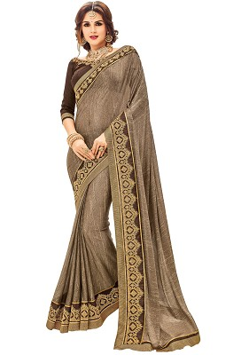 Coffee Two Tone Lycra Designer Saree