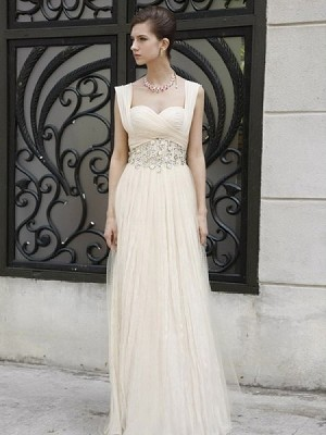 A-Line/Princess Tulle Sleeveless Floor-Length Ruffles Prom Dress With Natural