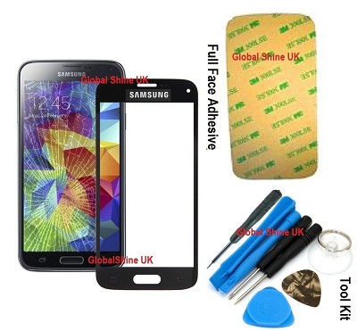 GENUINE BLACK FRONT GLASS REPLACEMENT SCREEN FOR SAMSUNG GALAXY S5 i9600 i9605