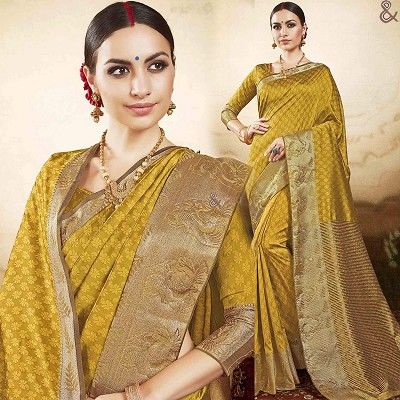 Pleasing Yellow Raw Silk Printed Casual Saree Online India