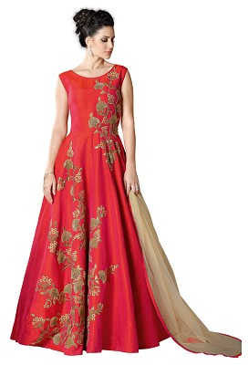 Cherry Red Silk Partywear Anarkali Suit