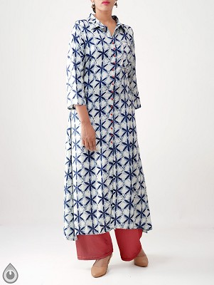 Off White Printed Rayon Silk Straight Kurta