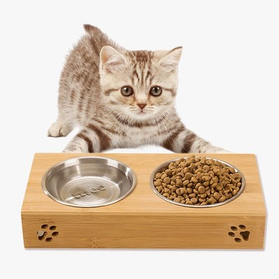 Bamboo and Stainless Steel Double Dog, Cat and Puppy Bowl