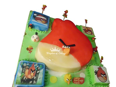 Place Online Order for Angry Birds Birthday Cake from Kingdom of Cakes