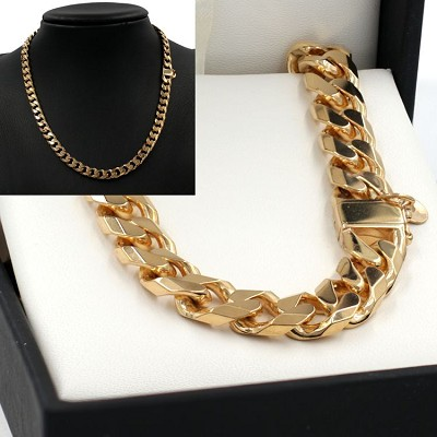 50cm Yellow Gold Bevelled Curb Chain Necklace - GN-BCD250BC