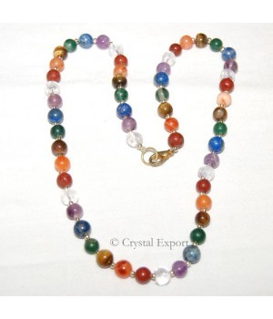 Buy online CHAKRA ROUND BEADS NECKLACE WITH SILVER BRASS