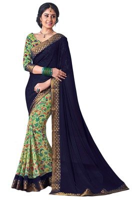 Navy Blue,Light Green Georgette Printed Party Wear Saree