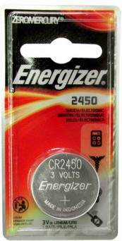 Energizer ECR2450BP (CR2450) 3 Volt, 620 mAh, Lithium Coin Battery
