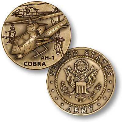 AH-1 Army Cobra Helicopter Challenge Coin With Optional Coin Capsule And Display Box.