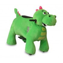 Motorized Plush Green Dino Ride On Toy - Coin Operated Electric Animal Scooter