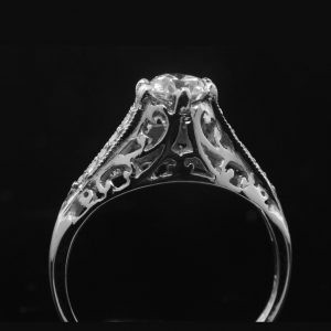 Handmade Vintage Style Carved Engagement Ring