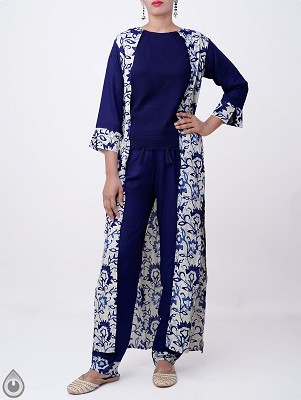off White-Blue Printed Rayon Silk Attached Coat Kurta with Palazzo
