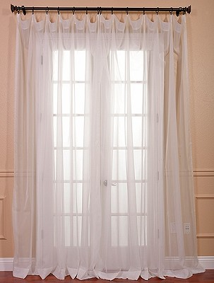 Solid Off White Doubl Wide Voile Poly Sheer Curtain
