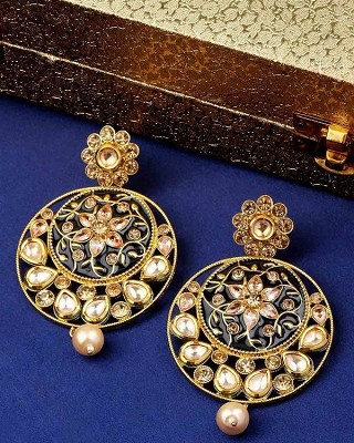 Darbari Chandbali Earrings with Floral Motifs and Pearls