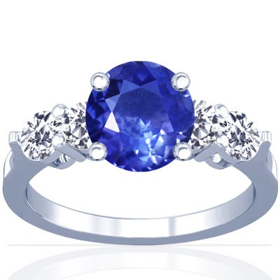 Untreated Blue Sapphire Round and Diamond Ring (1.31cttw.)