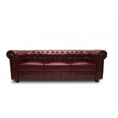 Chesterfield Sofa 3 Seater in Dark Red