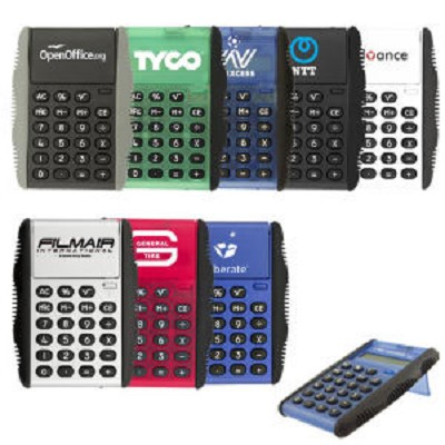 Promotional calculators - 50 working days - Flip cover calculator with a push button opening mechanism.