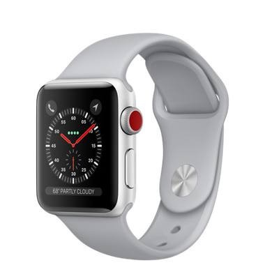 Apple Watch Series 3 - 38mm GPS + Cellular - Silver Aluminium Case with Fog Sport Band