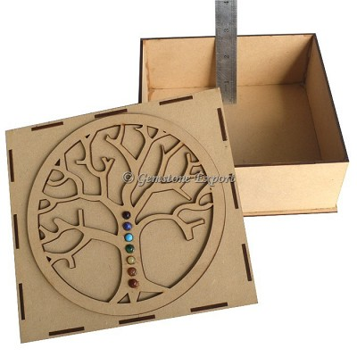 Seven Chakra Flower Of Life Tree Wooden Gift Box