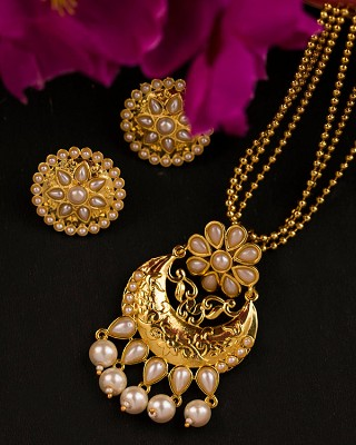 Classy Gold Plated Long Necklace Set