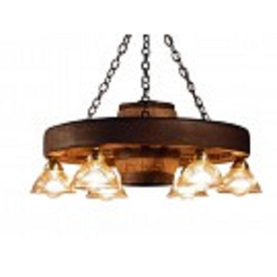 Small Wagon Wheel Chandelier with 6 Down Lights