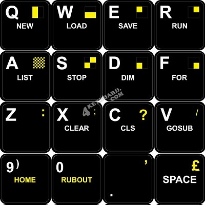 SINCLAIR ZX SPECTRUM NON TRANSPARENT KEYBOARD STICKERS