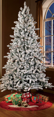 Holiday Time Pre-Lit 7.5' Green Flocked Birmingham Fir Artificial Christmas Tree, Clear Lights