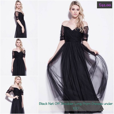 Black Net Off Shoulder Long Prom Dresses