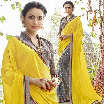 Gorgeous Grey And Yellow Georgette Half And Half Sari