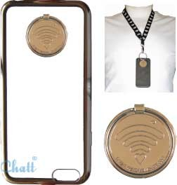 CUSTOM Apple iPhone 6 Neck Case with Adjustable Lanyard: Chrome - Clear