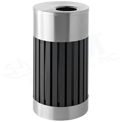 25-Gallon Riverview Waste Container - Black w/ Stainless Steel