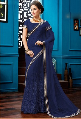 Navy Blue Net Designer Saree