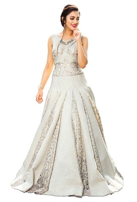Readymade Anarkali Style Gown In Off-White