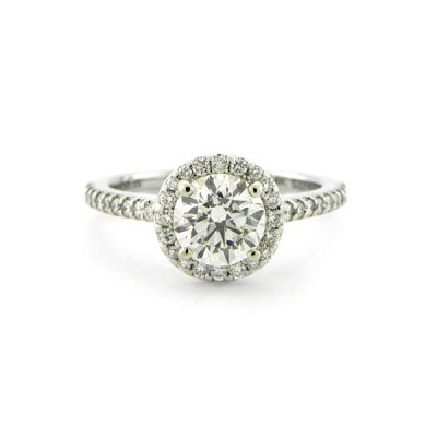 Halo Ideal Cut Diamond Engagement Ring